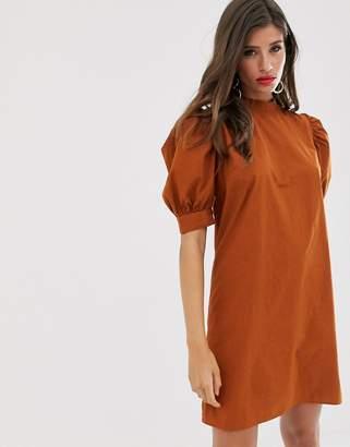 Vila high neck balloon sleeve mini dress