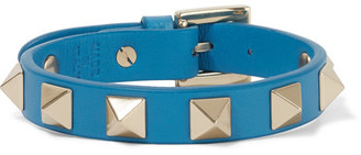 Valentino - The Rockstud Leather And Gold-tone Bracelet - Azure $195 thestylecure.com