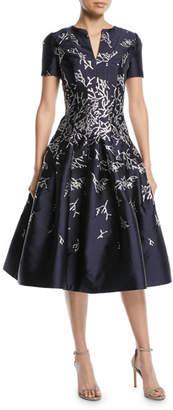 Oscar de la Renta Short-Sleeve Coral-Jacquard Full-Skirt Cocktail Dress with Pockets
