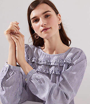 LOFT Striped Ruffle Yoke Blouse