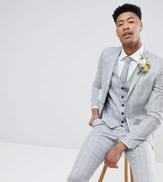 Selected Skinny Fit Suit Jacket In Gray Check