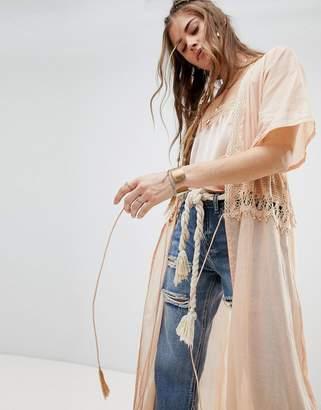 Aratta Tie Front Kimono With Crochet Panel and Tassel Ties