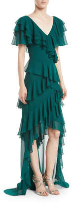 Badgley Mischka V-Neck Draped Ruffle Gown