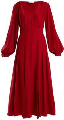RAQUEL DINIZ Dalia button-front silk tea dress