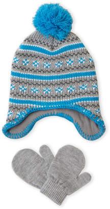 Laura Ashley Newborn/Infant) Two-Piece Fair Isle Hat & Mittens Set