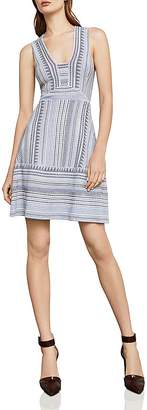 BCBGMAXAZRIA Striped Jacquard Dress