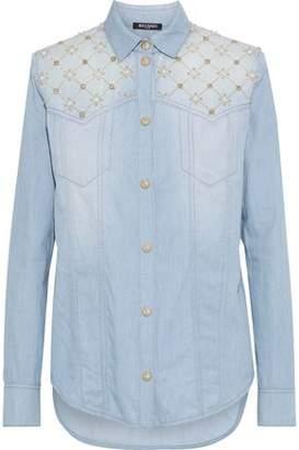 Balmain Embellished Denim Shirt