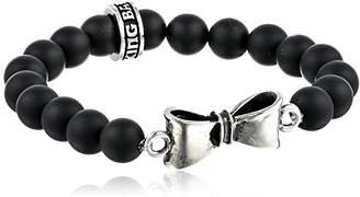 King Baby Studio 8mm Onyx Bead with Silver Bow Bracelet