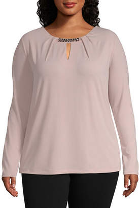Liz Claiborne Long Sleeve Pleat Neck Bling Top - Plus