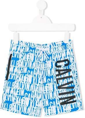 Calvin Klein Kids logo print swimming trunks