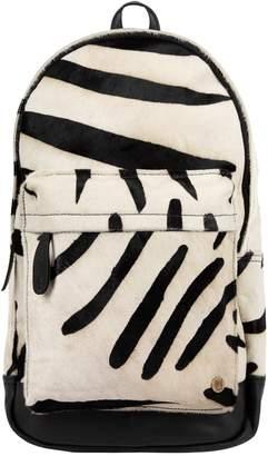 MAHI Leather - Classic Cowhide Leather Backpack Rucksack In Zebra Print