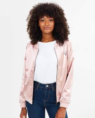 Womens Satin Bomber Pink