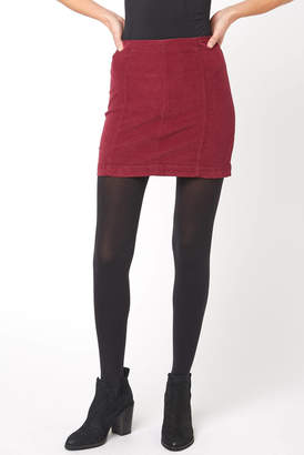 Free People Modern Femme Wine Cord Mini Skirt