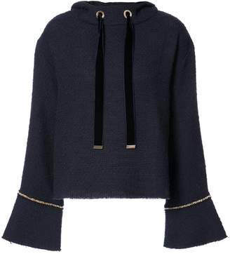 Mother of Pearl gold chain trim hoodie