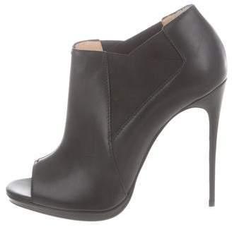 Christian Louboutin Peep-Toe Leather Ankle Booties