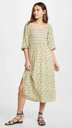 WAYF Nevah Smocked Midi Dress