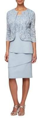 Alex Evenings 2-Piece Open-Front Jacket Sheath Dress Set