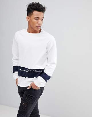 Jack Wills Gladstone Sweatshirt In White With Navy Stripe