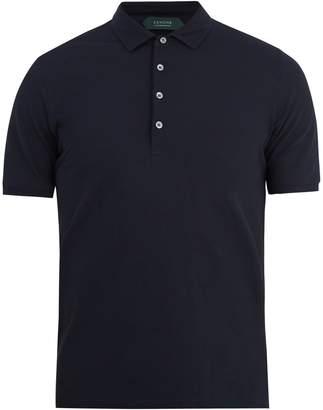 Zanone Short-sleeved fine-knit cotton polo shirt