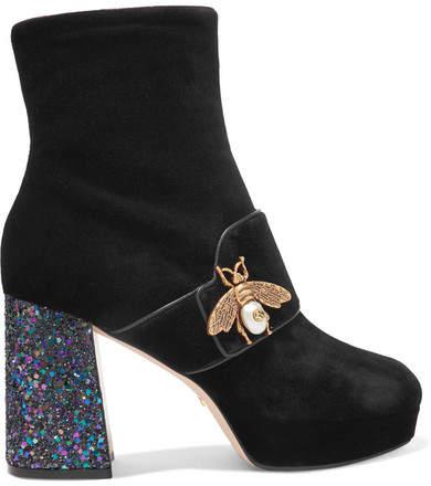 Gucci - Embellished Glittered Velvet Ankle Boots - Black
