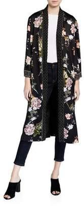 Johnny Was Plus Size Floral Print Velvet Mix Kimono