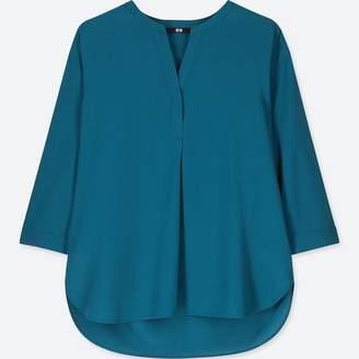 Uniqlo WOMEN Rayon Skipper Collar 3/4 Sleeve Blouse