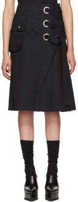 Sacai Black Cotton Twill Skirt