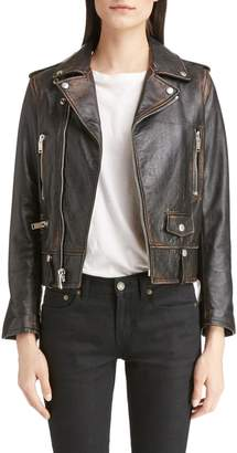 Saint Laurent Back Logo Leather Biker Jacket