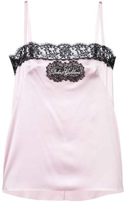Dolce & Gabbana logo patch lace trim camisole