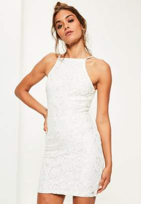 Missguided White Lace Square Neck Bodycon Dress