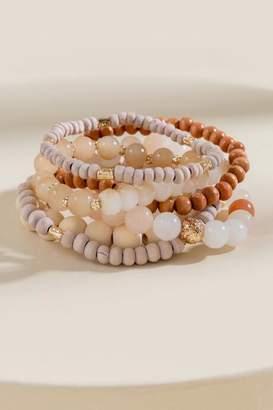 francesca's Addison Beaded Bracelet Set - Blush