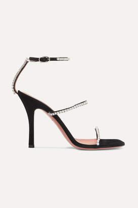 Amina Muaddi - Gilda Crystal-embellished Suede Sandals - Black