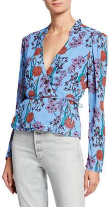 Astr Facade Floral Long-Sleeve Wrap Blouse