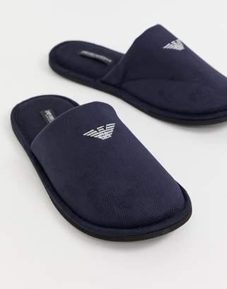 4a327c7ec170 Emporio Armani logo slippers in navy