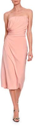 Dolce & Gabbana Strapless Ruched Midi Dress
