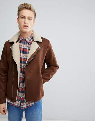 Jack and Jones Faux Shearling Biker Jacket