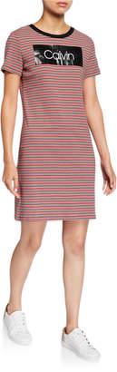 Calvin Klein Striped Logo T-Shirt Dress