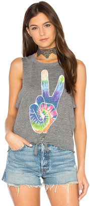 Chaser Rainbow Peace Tie Front Muscle Tee $59 thestylecure.com