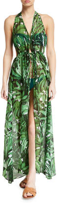 Milly Katrina Leaf-Print Halter Coverup Maxi Dress