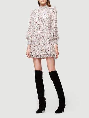 Frame Smocked Silk Shift Dress