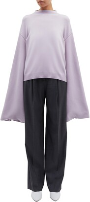 PHVLO Button split kimono sleeve mock neck sweater