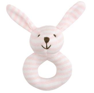 Elegant Baby Rattle Mini Stripes Pink Bunny