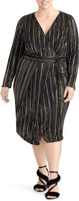 Rachel Roy Kaia Faux Wrap Metallic Dress