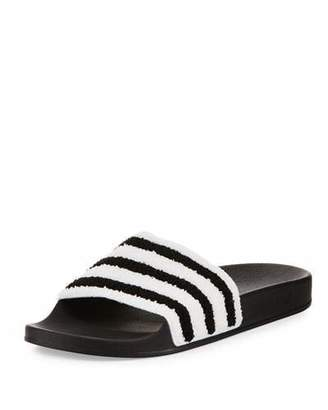 Adidas Adilette Striped Slide Sandal, Black/White $45 thestylecure.com