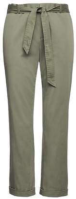 Banana Republic Petite Avery Straight-Fit Sateen Ankle Pant With Tie Waist