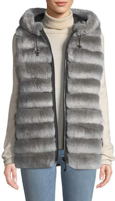 Belle Fare Reversible Fur Vest w/ Hood