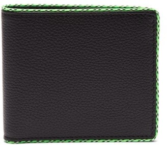 Maison Margiela Neon Piped Grained Leather Bi Fold Wallet - Mens - Black