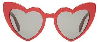 Saint Laurent Loulou Heart Shaped Acetate Sunglasses - Womens - Red