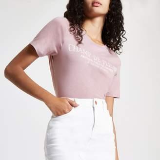 River Island Womens Pink 'Champ-de-fleurs' print T-shirt