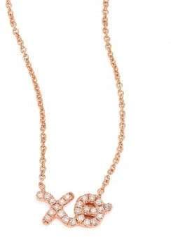 Sydney Evan XO Diamond& 14K Rose Gold Pendant Necklace